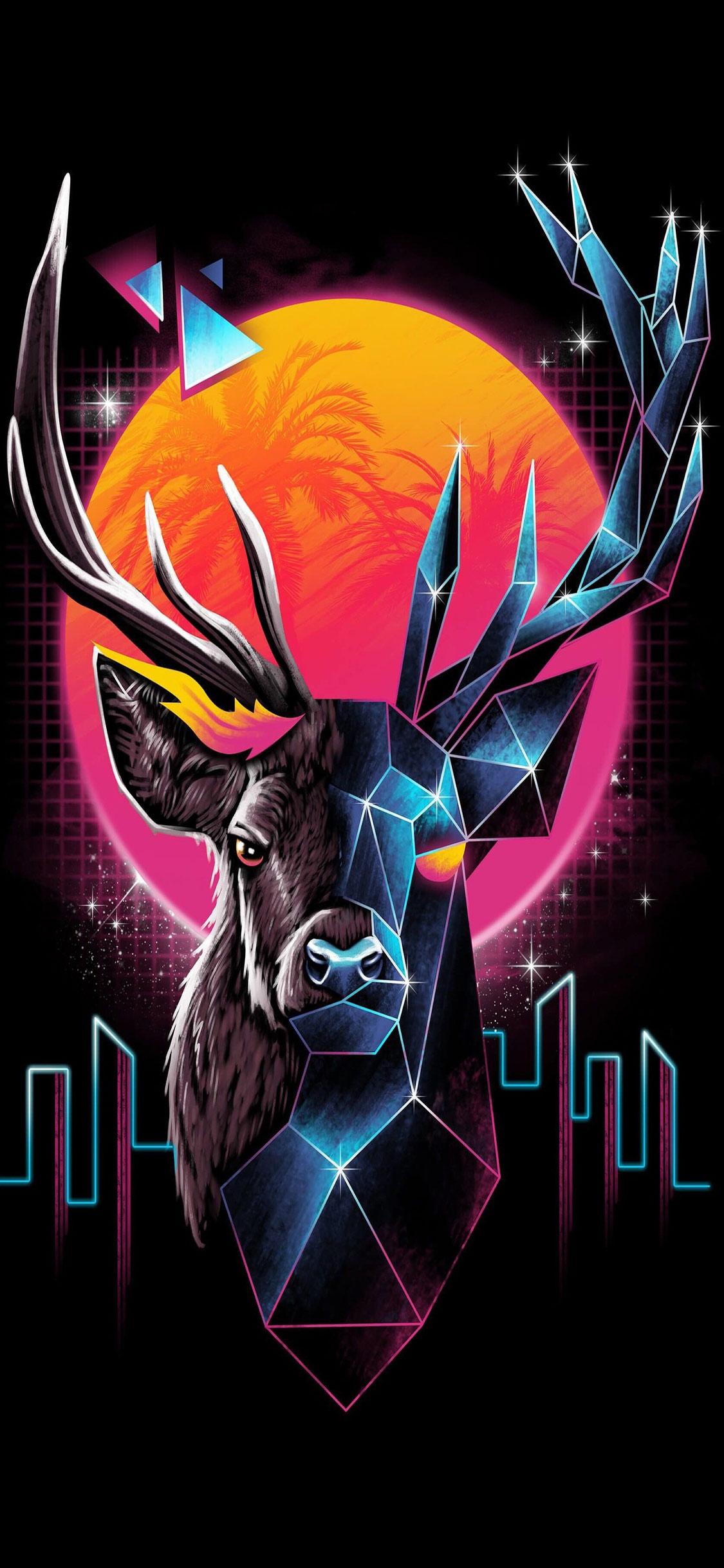 Retro Deer Abstract Iphone 11 Wallpaper