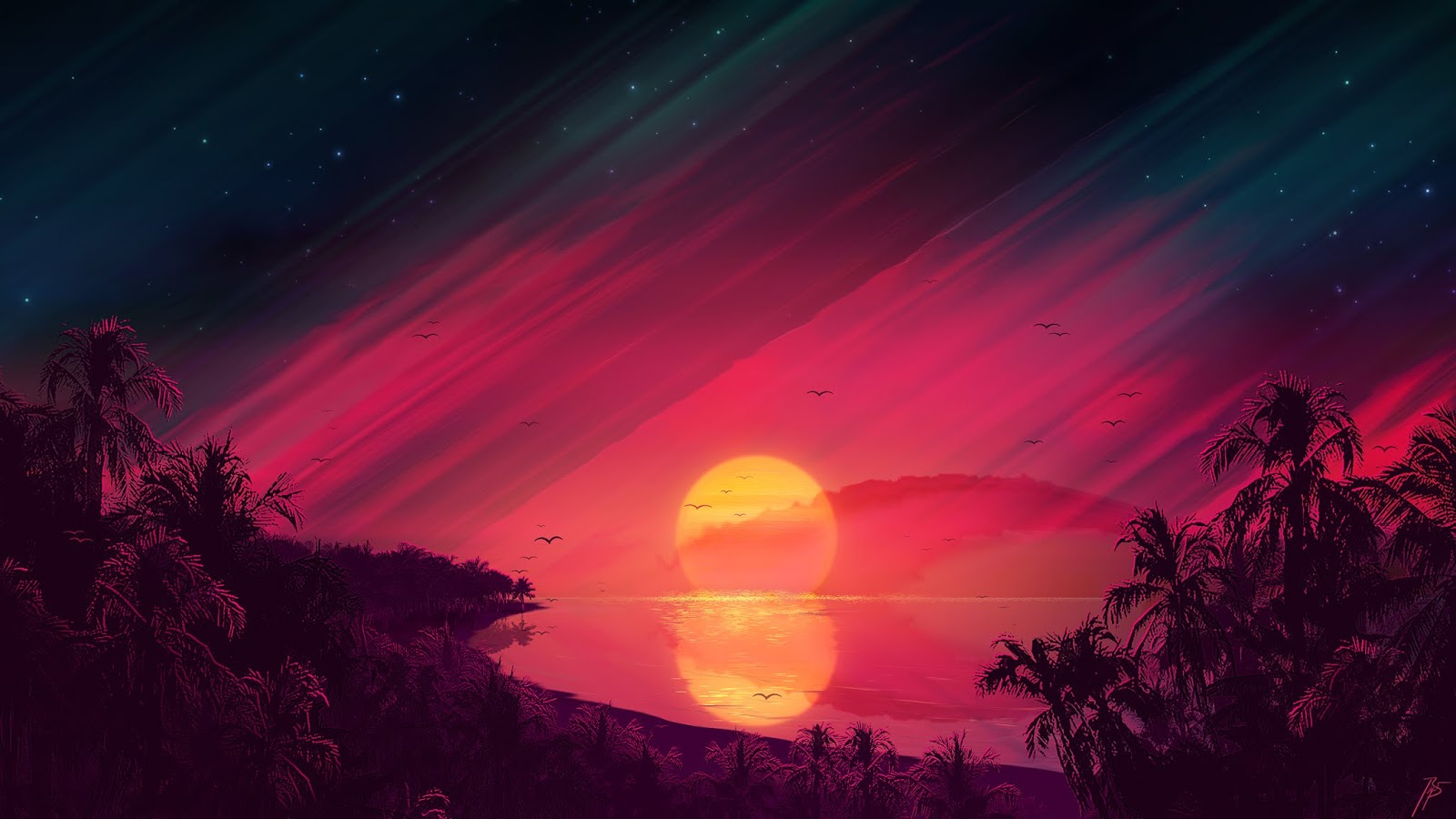 beautiful sunset painting