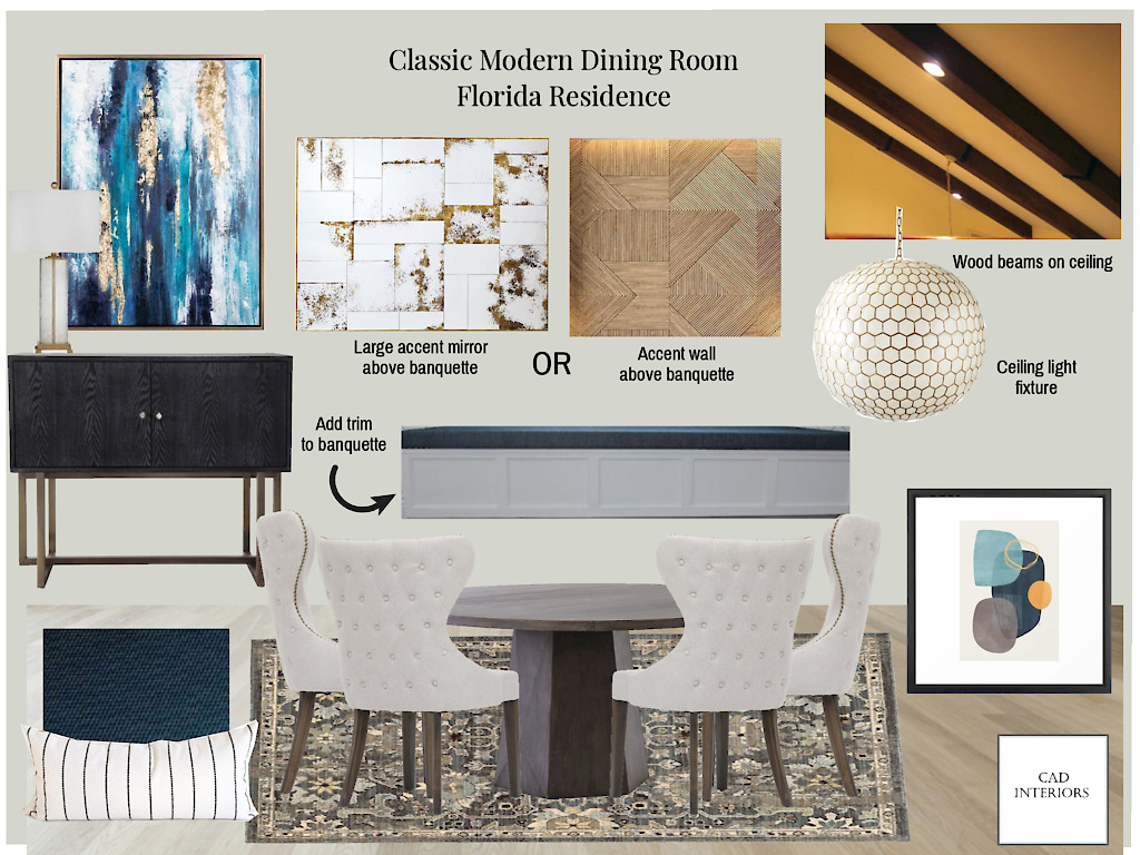CAD Interiors online interior design virtual e-design transitional design plan mood board blue gray white wood arch sloped ceiling built-in banquette bench