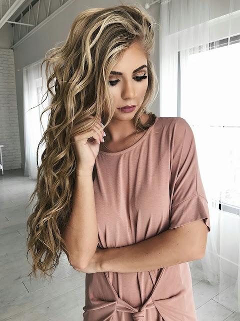 Dark golden colour hairstyle