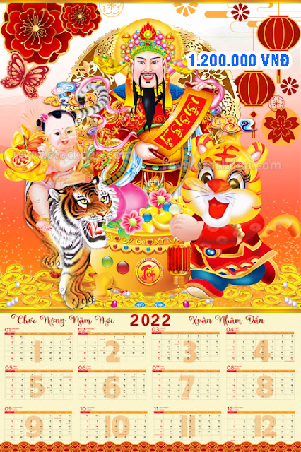 File lịch tờ 12 tháng năm hổ vàng 2022