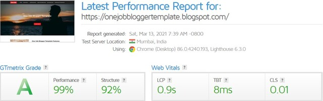 GT Metrix Score of OneJob Blogger Template By PBT