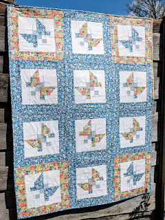 Liberty fabric patchwork butterfly quilt