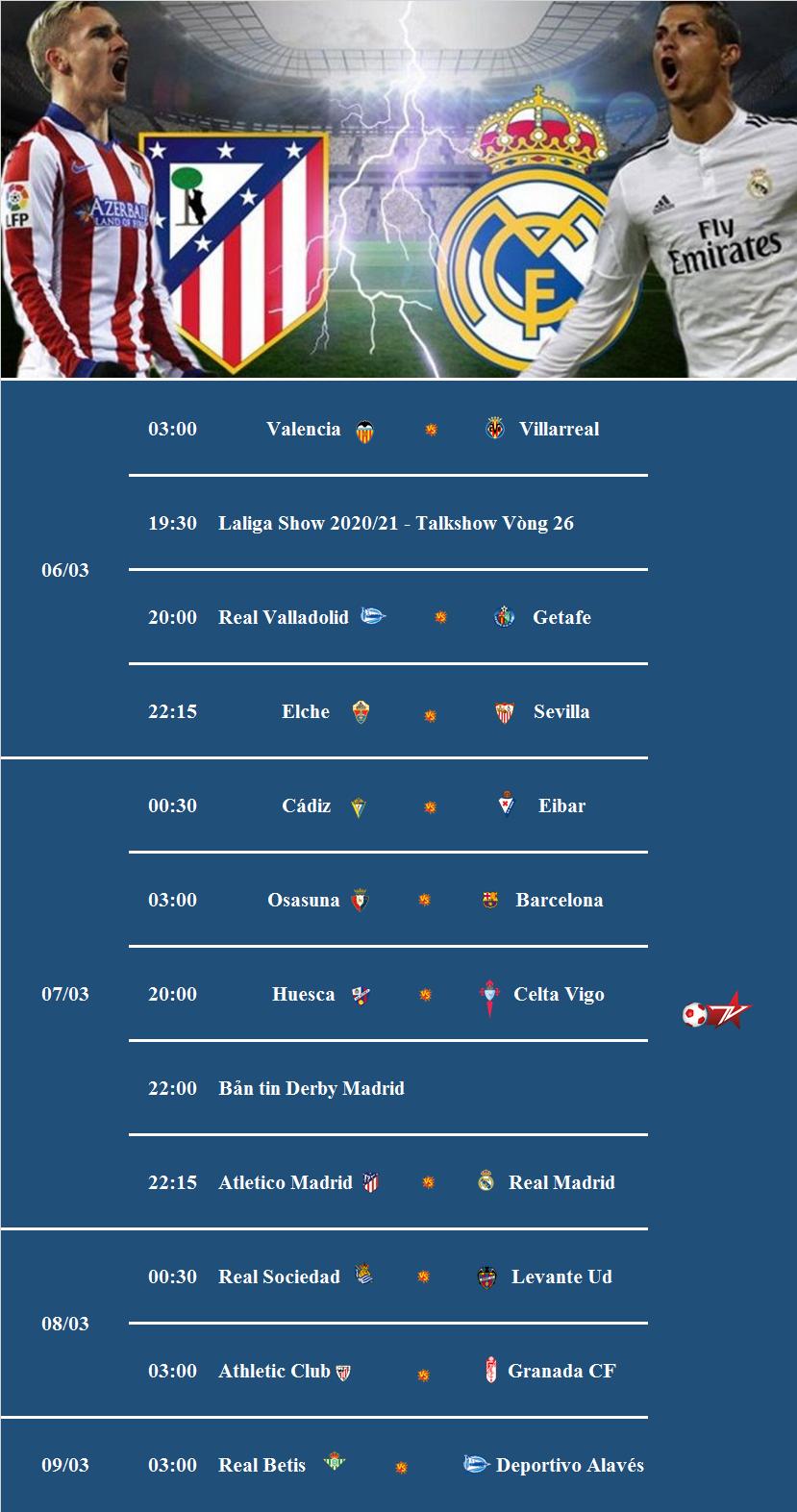 Lịch tường thuật trực tiếp La Liga Vòng 26 trên VTVCab