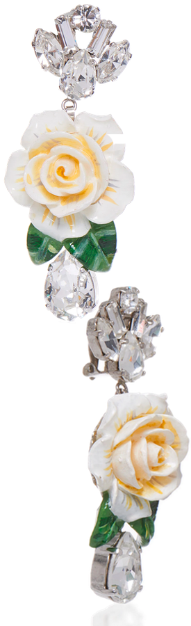 Dolce & Gabbana Rosetto Silver-Tone Brass And Crystal Earrings