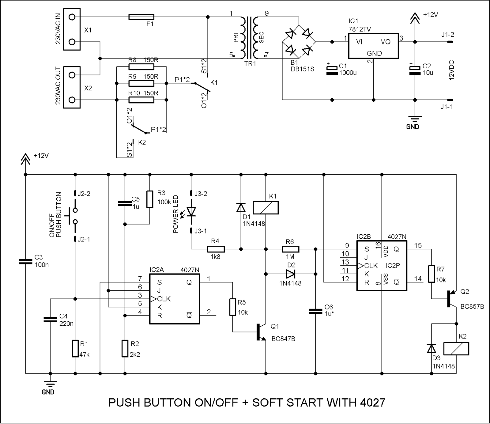hight resolution of the first timer is wired as push button toggle switch and the second is an ordinary switch connected again with delay circuit
