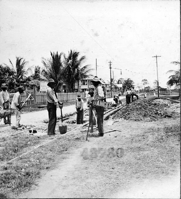 Street railway tracks. 1922. Georgetown, Guyana, South America