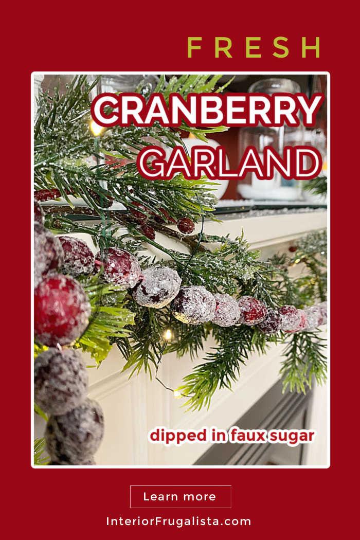Making Cranberry Garland with faux sugar dipped fresh cranberries is an easy and inexpensive idea for decorating a Christmas Mantel or Christmas Tree with nostalgic old fashioned Christmas charm. #cranberrygarland #cranberrydecor