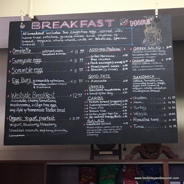 breakfast menu at Westside Organic Cafe in Berkeley, California
