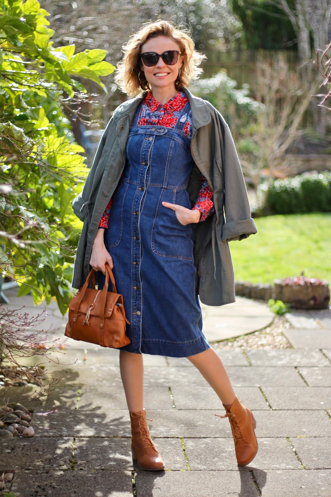 Denim dress, red shirt and tan boots | Spring Outfit Idea | Fake Fabulous