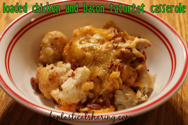 Loaded Chicken & Bacon Tatortot Casserole |  This Minnesotan dish gets a twist that makes it taste like a loaded baked potato! #recipe #bacon #chicken #hotdish