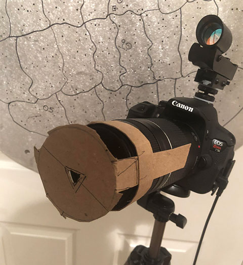 Homemade triangular aperture fitted on DSLR lens (Source: Palmia Observatory)