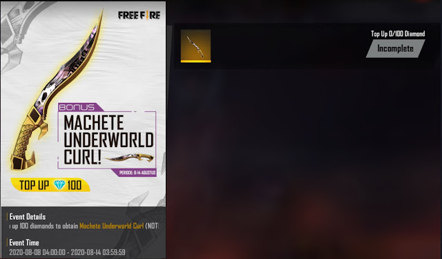 Event Top Up Free Fire Terbaru 100 Diamond Skin Machete Underworld
