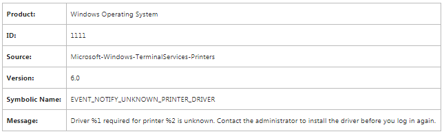 Event 1111 Terminalservices Printers
