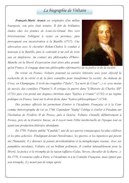 La biographie de Voltaire BAC20 CANDIDE