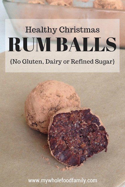 Healthy Christmas Rum Balls - free form gluten, dairy and refined sugar - from www.mywholefoodfamily.com