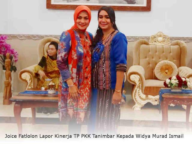 Joice Fatlolon Lapor Kinerja TP PKK Tanimbar Kepada Widya Murad Ismail