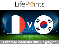 Logo LifePoints : vinci gratis un buono Amazon da 25€ con il tuo pronostico Francia- Corea del Sud