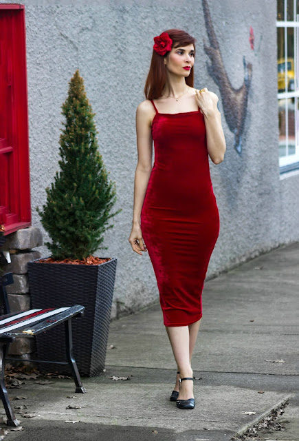 Red Velvet Strappy Square Neck Bodycon Midaxi Dress - Sara from FemmeLuxeFinery.co.uk