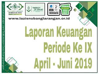 Laporan Keuangan Periode Ke IX Bulan April – Juni 2019