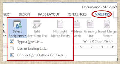 Mail Merge - Select recipients in MS Word 2013