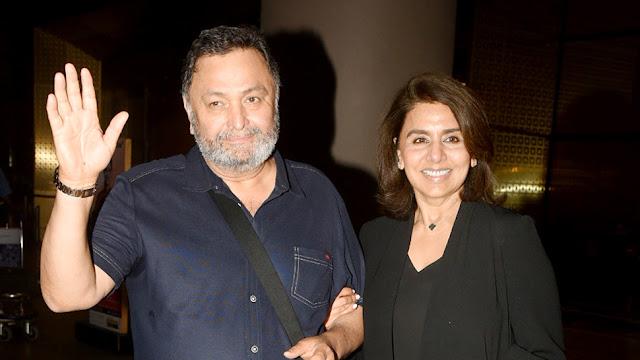 movie star rishi kapoor and neetu kapoor were clicked at mumbai airport returned from nyc