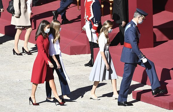 Princess Leonor and Infanta Sofia.  Felipe Varela Andrea red coat from the Spring Summer 2017 collection, Lodi pumps
