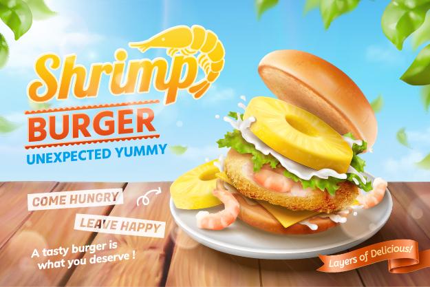 Shrimp burger ads background in 3d illustration vector
