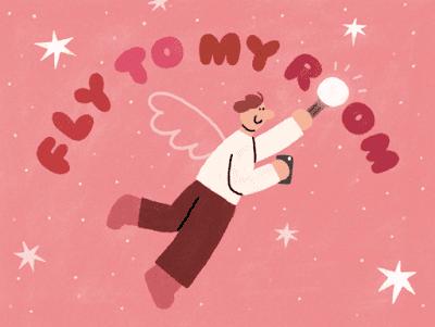 Grafika rysunkowa. Latająca postać nad którą widnieje napis Fly to my room. Na różowym tle białe gwiazdki.