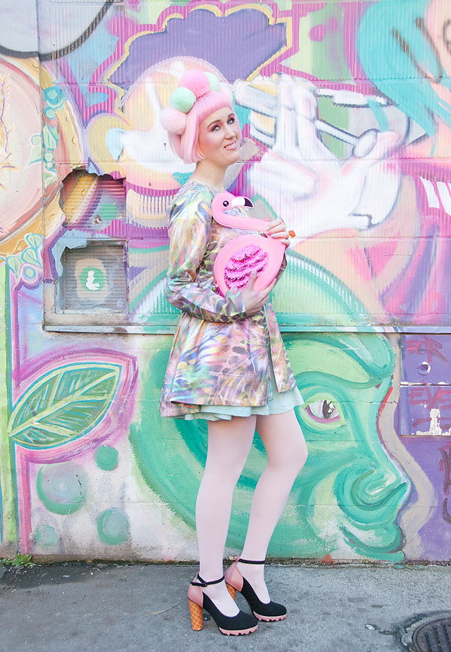 flamingo bag, dreamy look, pastel outfit