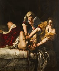 Painting of two women holding a man down while beheading him with a sword