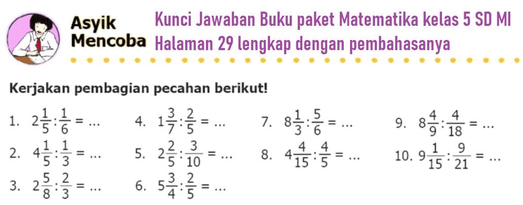 Kunci Jawaban Buku paket Matematika kelas 5 SD MI Halaman 29 lengkap dengan pembahasanya www.zonamatematika.com