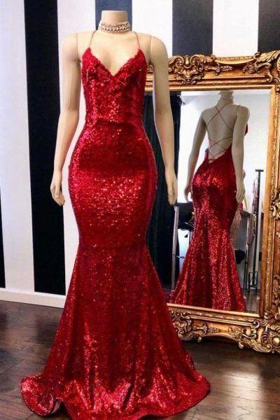 Bodycon red backlsss sequins mermaid prom dress