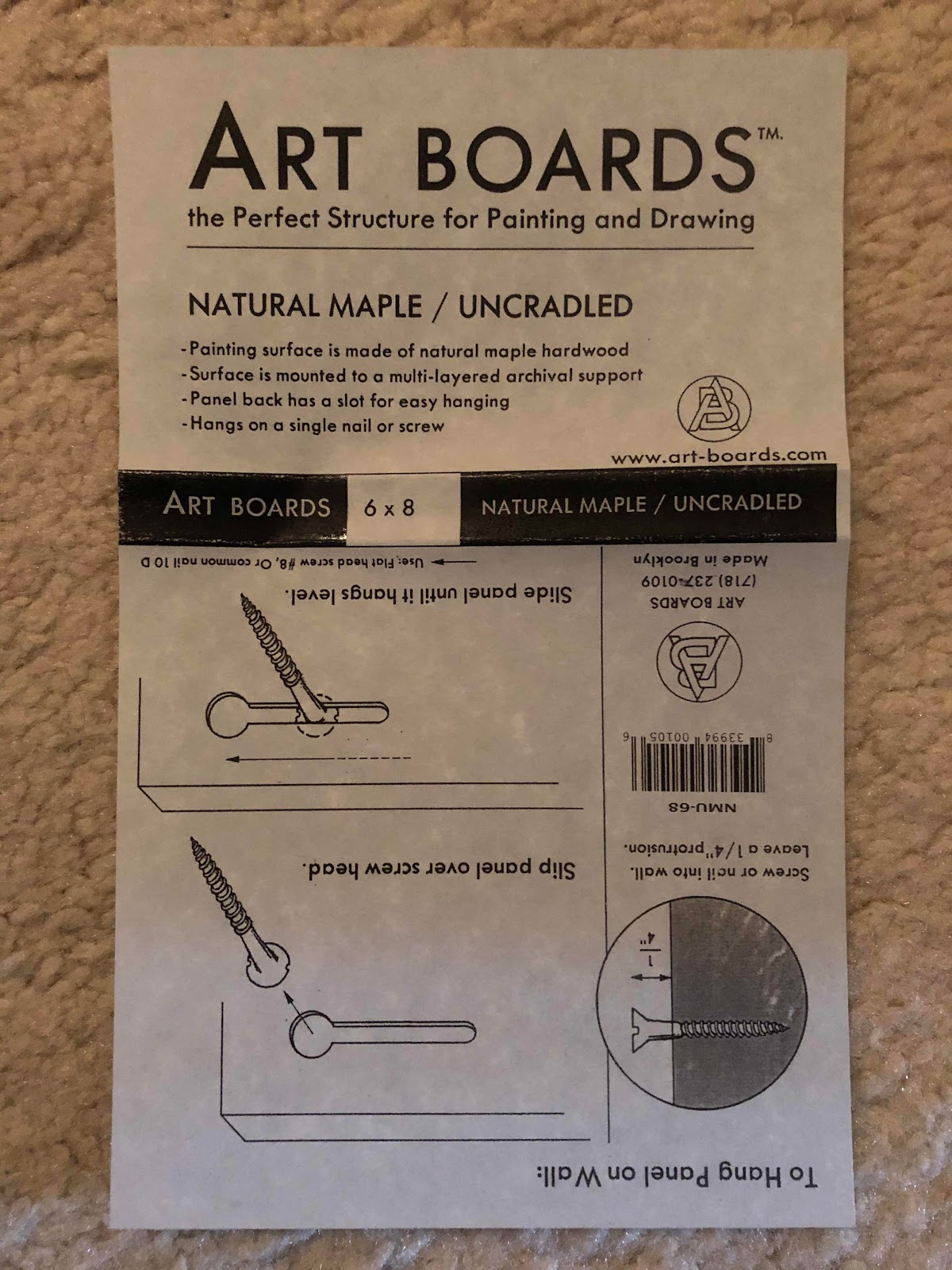 art board instruction sheet