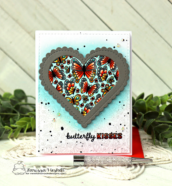 Butterfly Kisses Card by Larissa Heskett | Heartfelt Butterflies Stamp Set by Newton's Nook Designs #newtonsnook