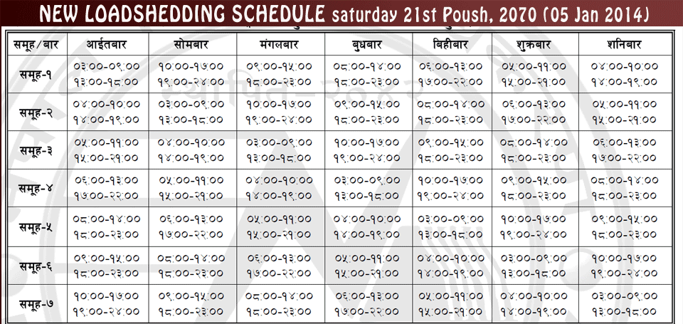 Load Shedding Schedule 2019 Picture: New Loadshedding Schedule