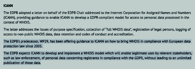 EDPB Second Plenary Meeting July 5, 2018 re: ICANN