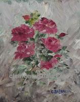 Passion, huile 5 x 4 par Clémence St-Laurent - gerbe de roses rouges
