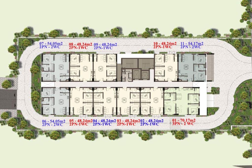 Thiết kế mặt bằng tầng điển hình Harina View