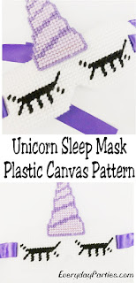 Now you can have a magical nap any time of the day with this Unicorn sleep mask made from plastic canvas.  The free plastic canvas pattern is perfect for a fun gift for mom, a sick friend, or to treat yourself. #unicorn #plasticcanvas #pattern #sleepmask #diypartymomblog