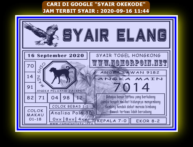Kode syair Hongkong Rabu 16 September 2020 298