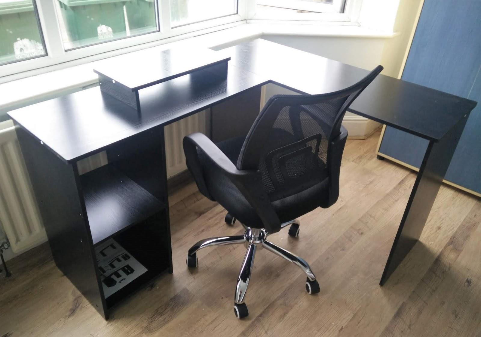 L-Shaped Large Corner PC Laptop Desk Study Table DOSLEEPS Computer Desk
