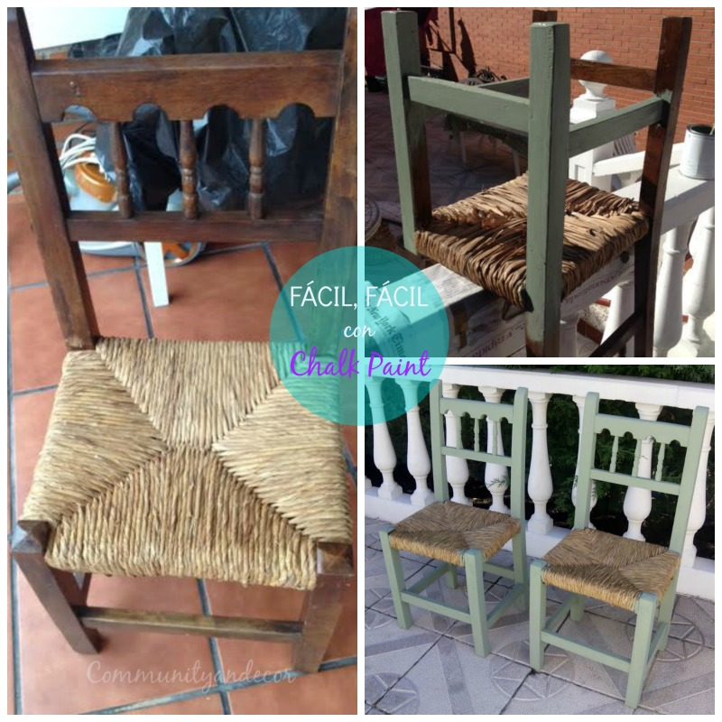 Como reciclar antiguas sillas de enea con chalk paint