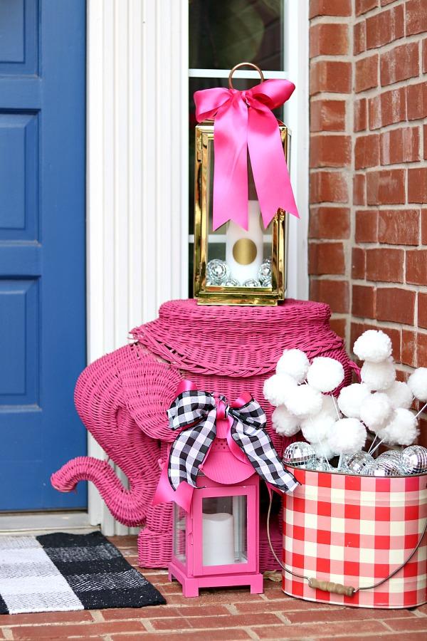 wicker elephant garden stool, porch lanterns, pagoda lantern