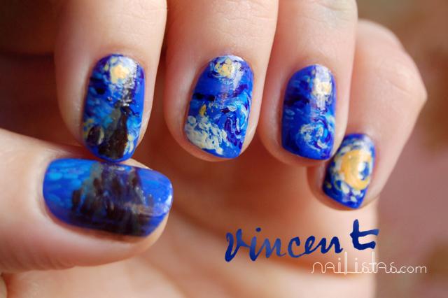 Uñas Decoradas Con La Noche Estrellada De Vincent Van Gogh Reto