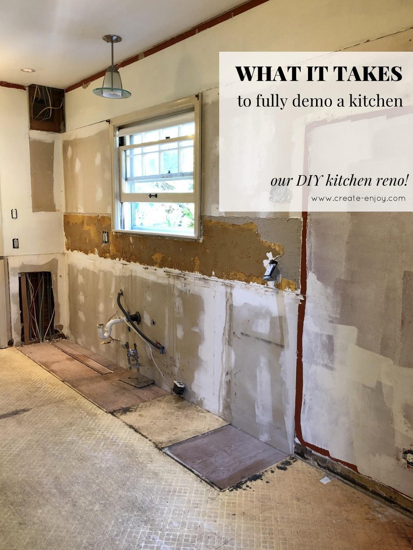 What It Takes To Fully Demo A Kitchen Our Diy Kitchen Reno