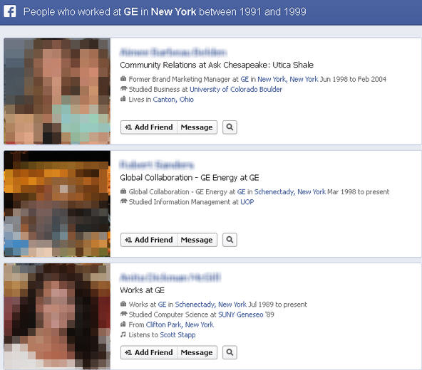 Find old colleagues through Facebook graph search