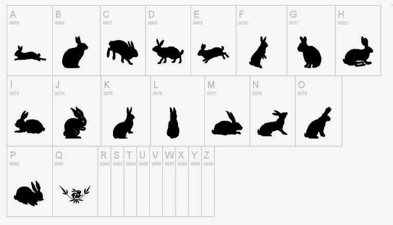 Easter font, designs, free, Silhouette friendly, dingbat rabbits