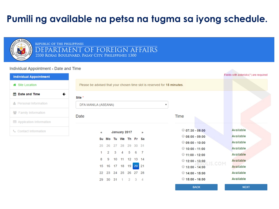 how to set an appointment in dfa