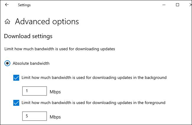 تعيين حد للتنزيل والتحميل بالميغابت في الثانية لتحديثات Windows 10.
